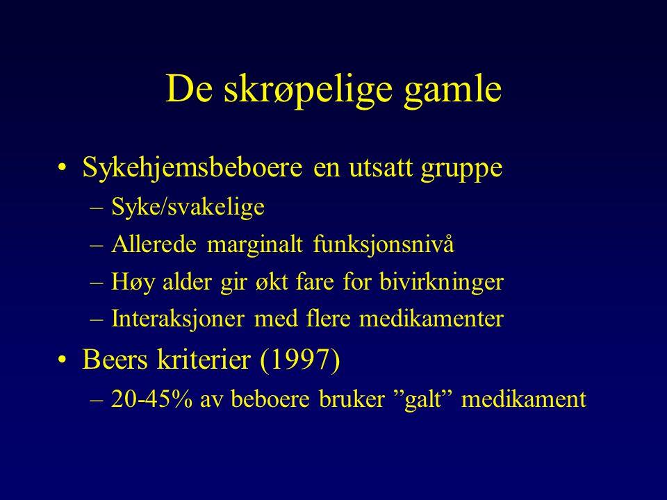 Geriatrisk farmakokinetikk Ann Intern Med 1995;123:195-204 Redusert lever-/nyrefunksjon Endring fett-/muskelfordeling Økt sensitivitet for noen med, og Redusert sensitivitet for andre