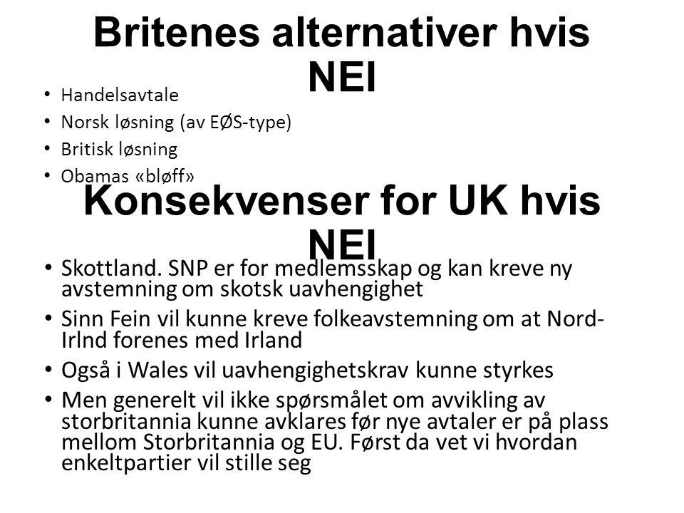Britenes alternativer hvis NEI Handelsavtale Norsk løsning (av EØS-type) Britisk løsning Obamas «bløff» Konsekvenser for UK hvis NEI Skottland.