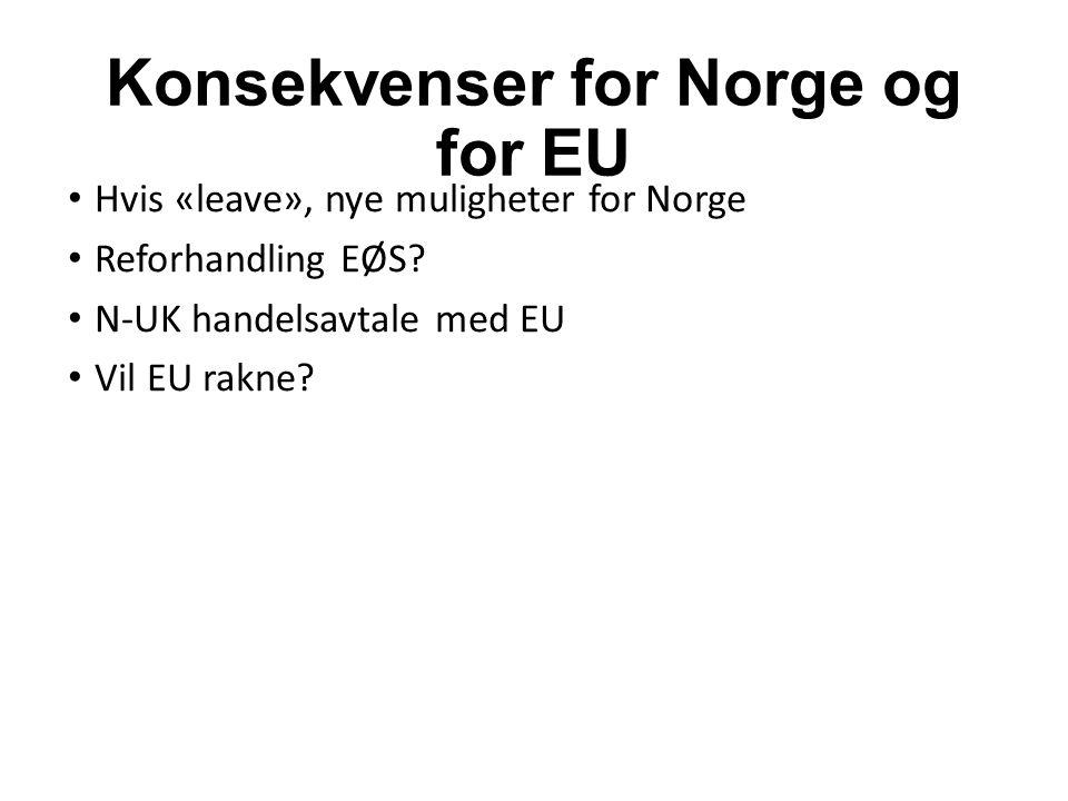 Konsekvenser for Norge og for EU Hvis «leave», nye muligheter for Norge Reforhandling EØS.