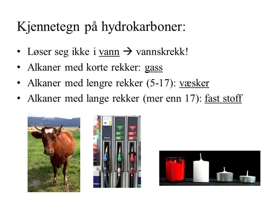 Kjennetegn på hydrokarboner: Løser seg ikke i vann  vannskrekk.