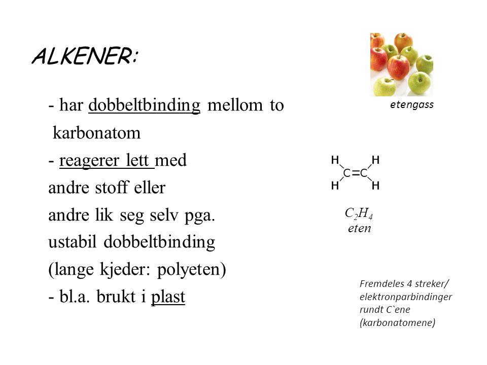 ALKENER: - har dobbeltbinding mellom to karbonatom - reagerer lett med andre stoff eller andre lik seg selv pga.