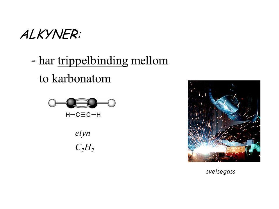ALKYNER: - har trippelbinding mellom to karbonatom etyn C 2 H 2 sveisegass