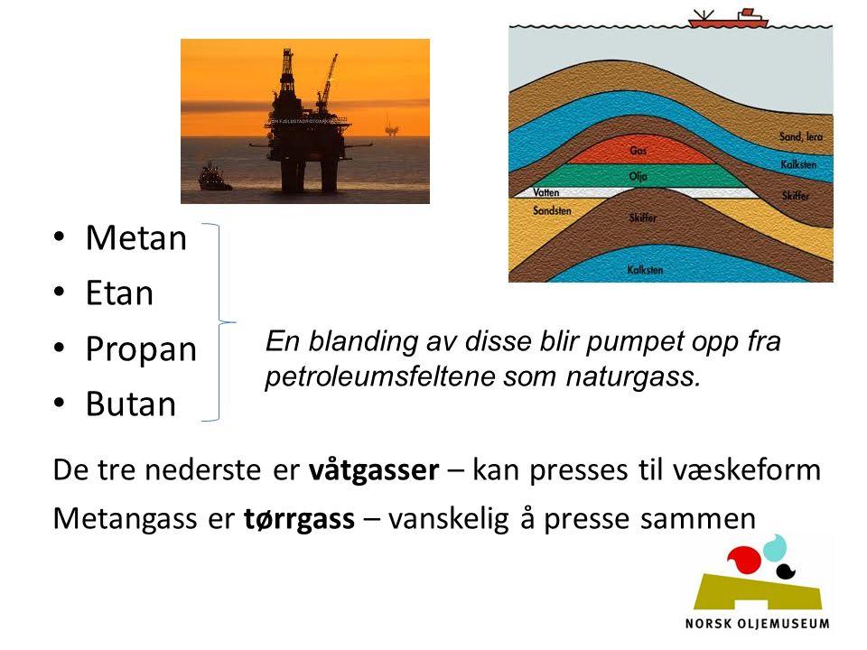 Metan Etan Propan Butan De tre nederste er våtgasser – kan presses til væskeform Metangass er tørrgass – vanskelig å presse sammen En blanding av disse blir pumpet opp fra petroleumsfeltene som naturgass.