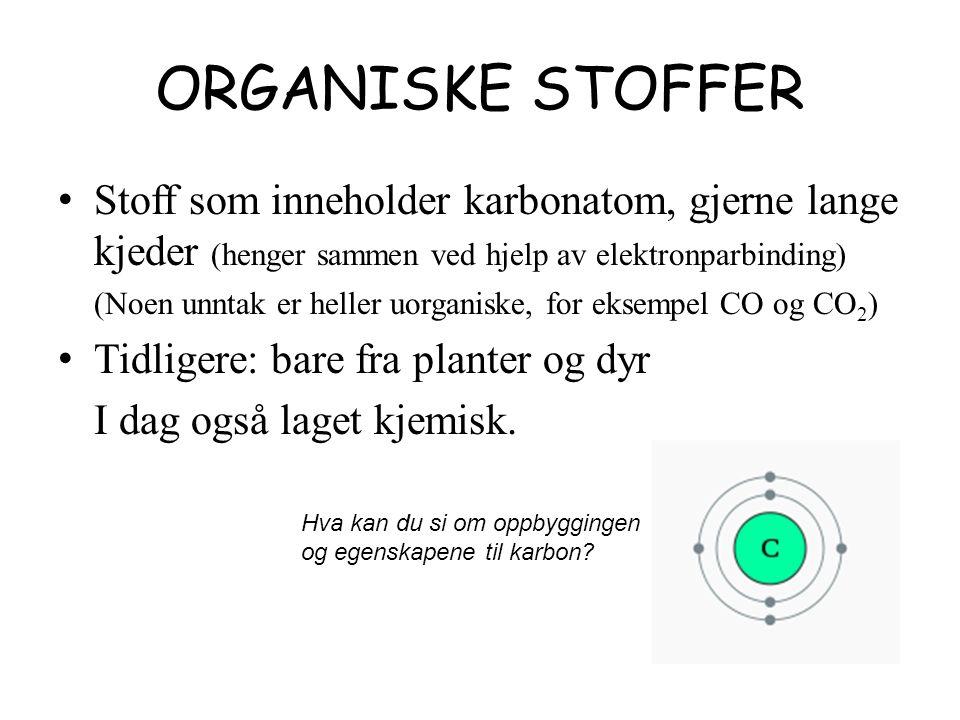ORGANISKE STOFFER Stoff som inneholder karbonatom, gjerne lange kjeder (henger sammen ved hjelp av elektronparbinding) (Noen unntak er heller uorganiske, for eksempel CO og CO 2 ) Tidligere: bare fra planter og dyr I dag også laget kjemisk.