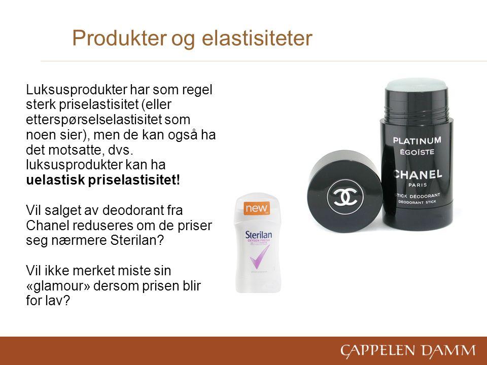 Produkter og elastisiteter Luksusprodukter har som regel sterk priselastisitet (eller etterspørselselastisitet som noen sier), men de kan også ha det motsatte, dvs.
