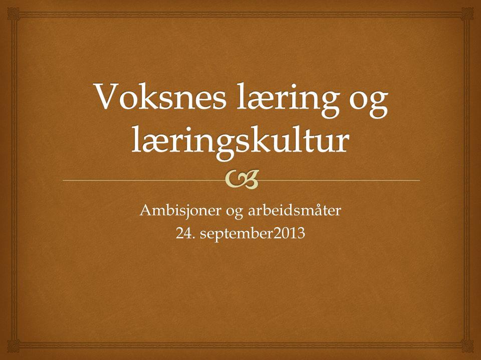 Ambisjoner og arbeidsmåter 24. september2013