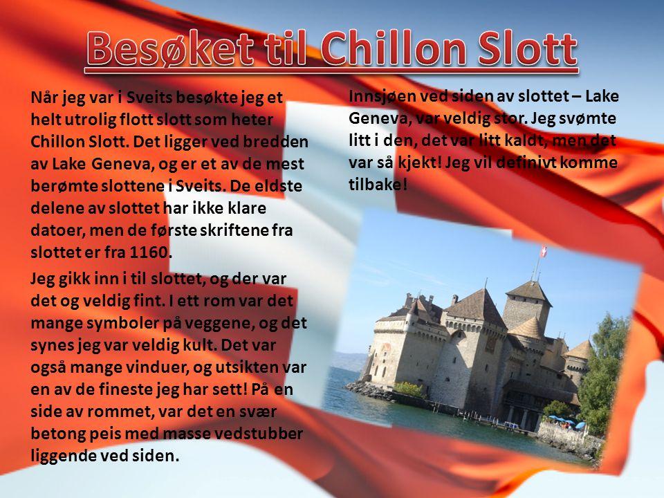 Når jeg var i Sveits besøkte jeg et helt utrolig flott slott som heter Chillon Slott.