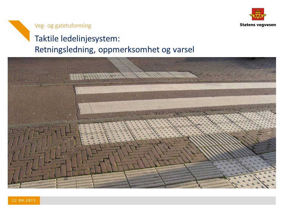 Taktile ledelinjesystem: Retningsledning, oppmerksomhet og varsel Veg- og gatetuforming 22.09.2015
