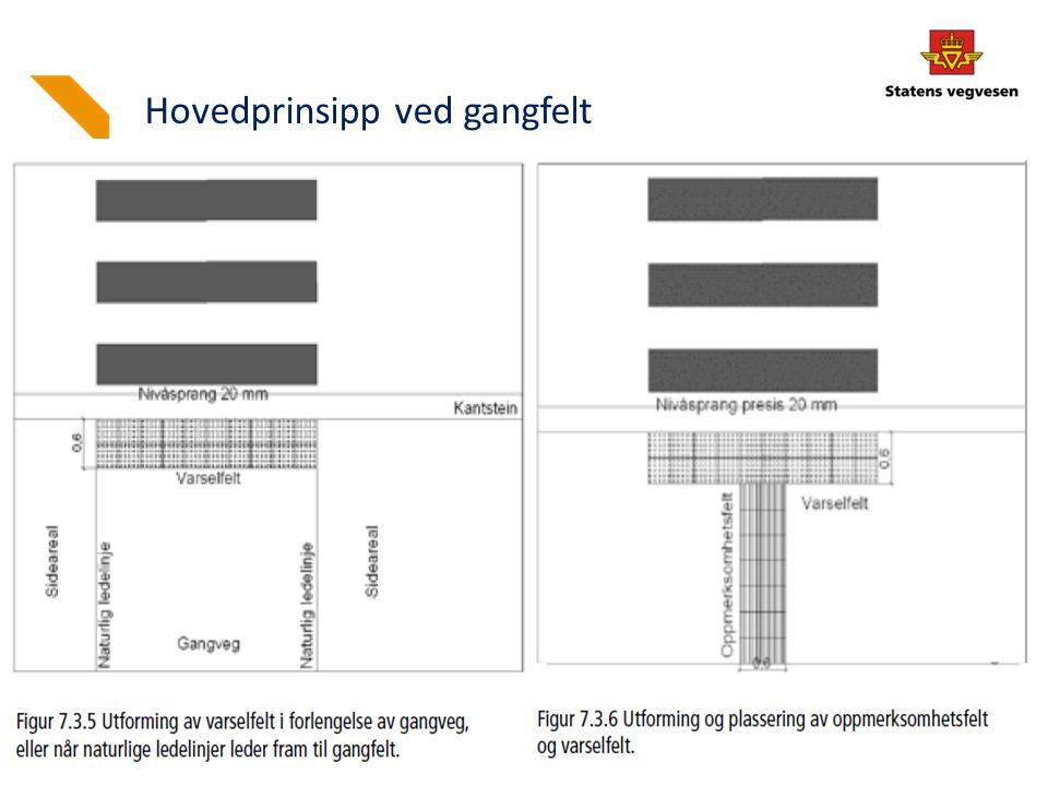 Foto: Bjørn Kåre Steinseth Gangfelt Nedramping 1:12 Nivåsprang 2 cm – nøyaktig, helst vinkelrett på kjørebanen Areal mellom nedramping og vegg: Min.