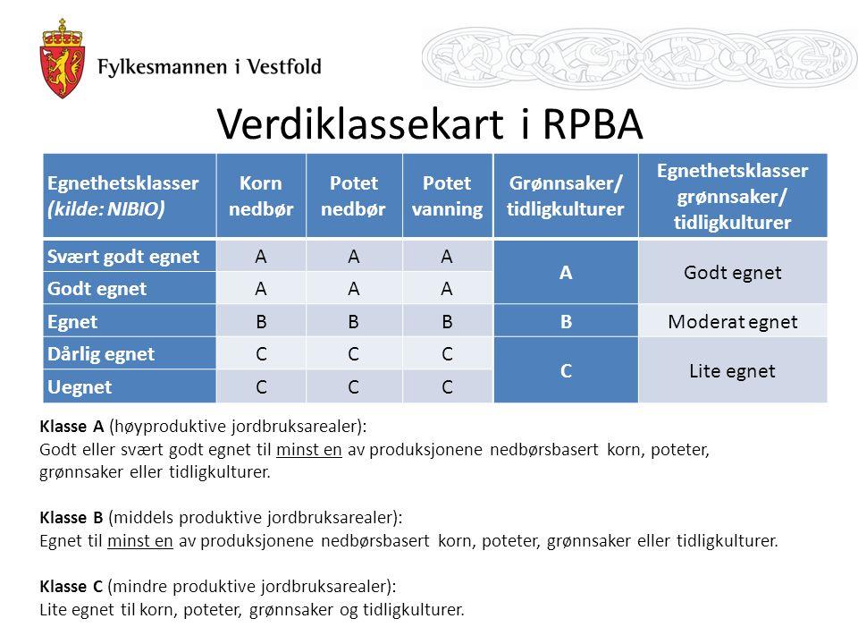 Verdiklassekart i RPBA Klasse A (høyproduktive jordbruksarealer): Godt eller svært godt egnet til minst en av produksjonene nedbørsbasert korn, poteter, grønnsaker eller tidligkulturer.