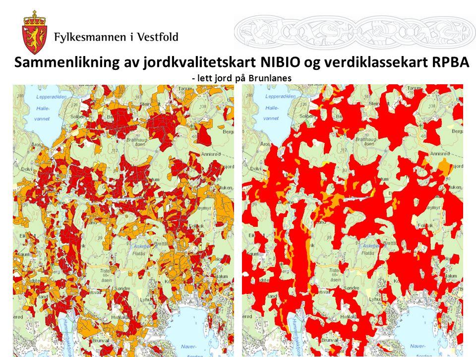 Sammenlikning av jordkvalitetskart NIBIO og verdiklassekart RPBA - lett jord på Brunlanes