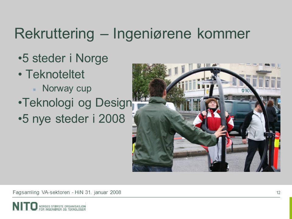 12 Fagsamling VA-sektoren - HiN 31. januar 2008 Rekruttering – Ingeniørene kommer 5 steder i Norge Teknoteltet Norway cup Teknologi og Design 5 nye st
