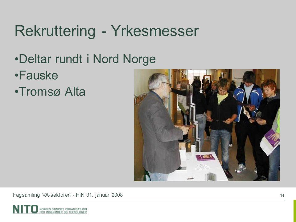 14 Fagsamling VA-sektoren - HiN 31. januar 2008 Rekruttering - Yrkesmesser Deltar rundt i Nord Norge Fauske Tromsø Alta