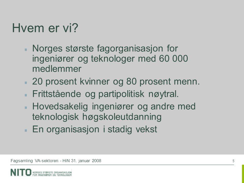 5 Fagsamling VA-sektoren - HiN 31. januar 2008 Hvem er vi? Norges største fagorganisasjon for ingeniører og teknologer med 60 000 medlemmer 20 prosent