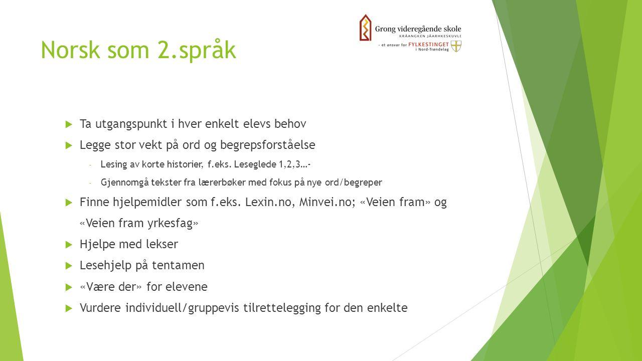 Norsk som 2.språk  Ta utgangspunkt i hver enkelt elevs behov  Legge stor vekt på ord og begrepsforståelse - Lesing av korte historier, f.eks. Lesegl