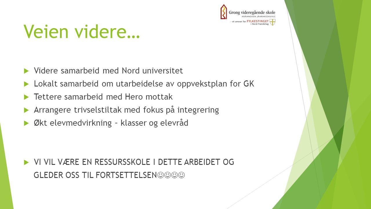 Veien videre…  Videre samarbeid med Nord universitet  Lokalt samarbeid om utarbeidelse av oppvekstplan for GK  Tettere samarbeid med Hero mottak 