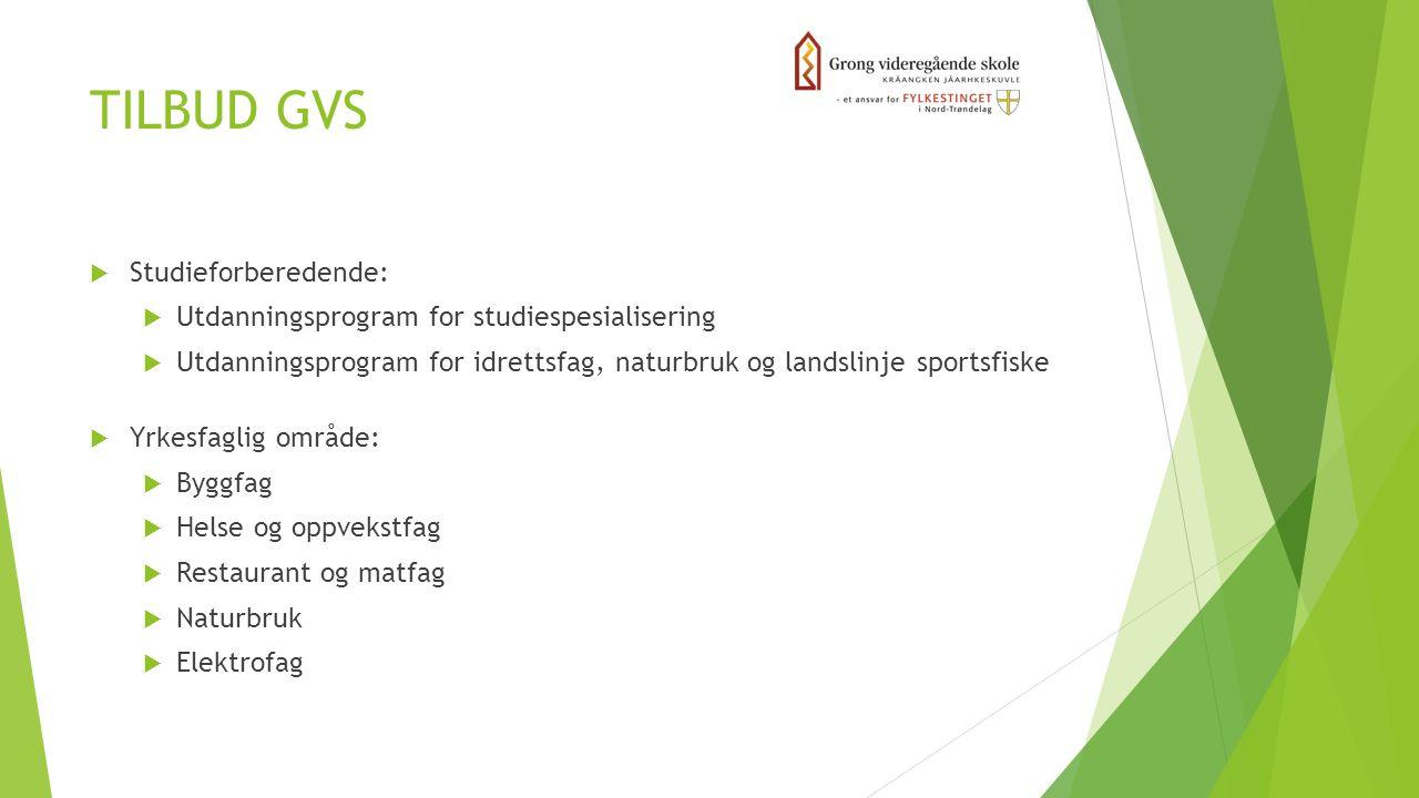 TILBUD GVS  Studieforberedende:  Utdanningsprogram for studiespesialisering  Utdanningsprogram for idrettsfag, naturbruk og landslinje sportsfiske