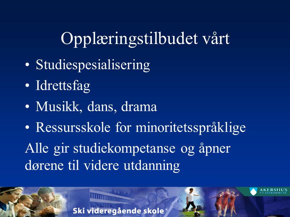 Opplæringstilbudet vårt Studiespesialisering Idrettsfag Musikk, dans, drama Ressursskole for minoritetsspråklige Alle gir studiekompetanse og åpner dørene til videre utdanning