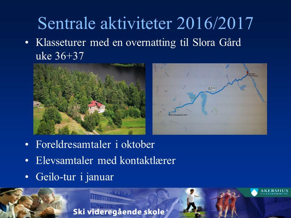 Sentrale aktiviteter 2016/2017 Klasseturer med en overnatting til Slora Gård uke 36+37 Foreldresamtaler i oktober Elevsamtaler med kontaktlærer Geilo-tur i januar
