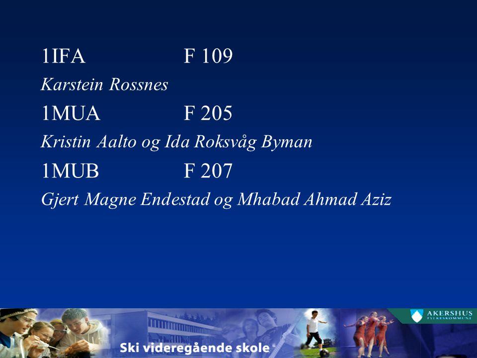 1IFAF 109 Karstein Rossnes 1MUAF 205 Kristin Aalto og Ida Roksvåg Byman 1MUBF 207 Gjert Magne Endestad og Mhabad Ahmad Aziz