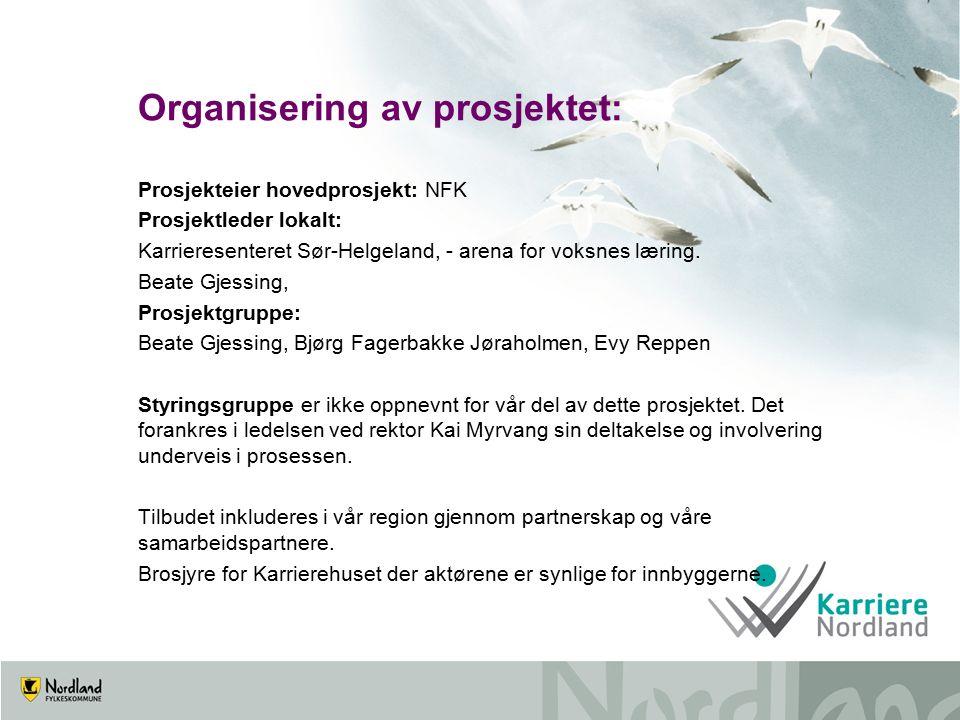 Organisering av prosjektet: Prosjekteier hovedprosjekt: NFK Prosjektleder lokalt: Karrieresenteret Sør-Helgeland, - arena for voksnes læring.