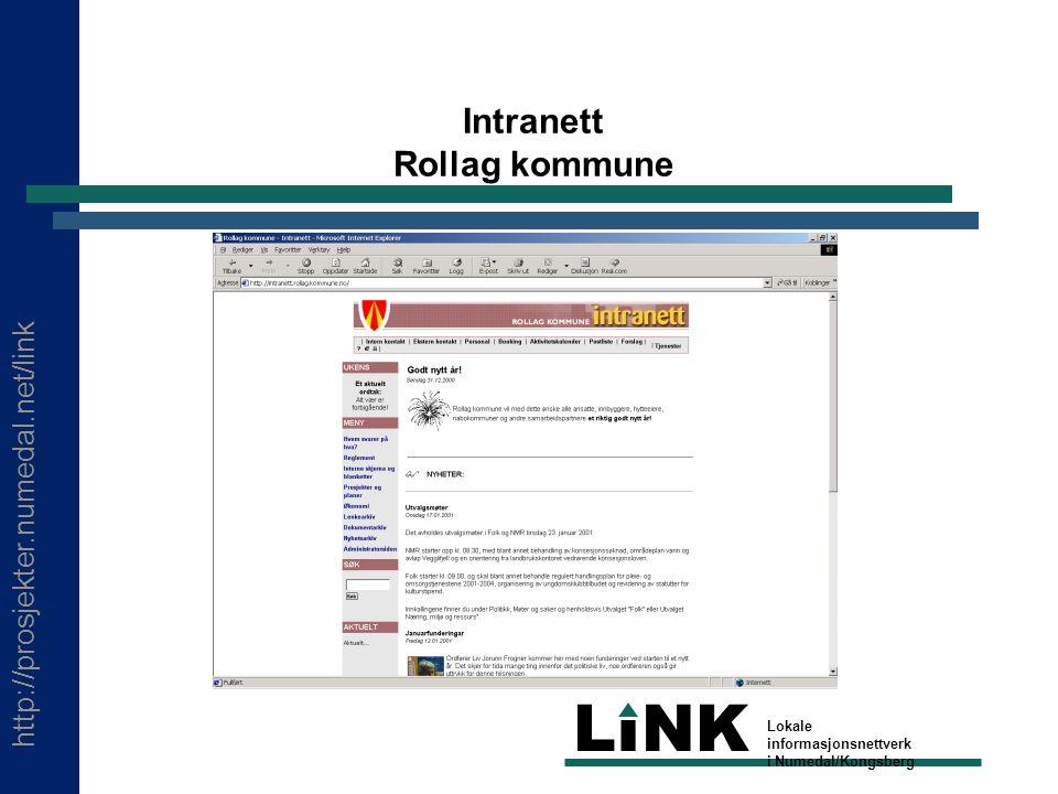 http://prosjekter.numedal.net/link LINK Lokale informasjonsnettverk i Numedal/Kongsberg Intranett Rollag kommune