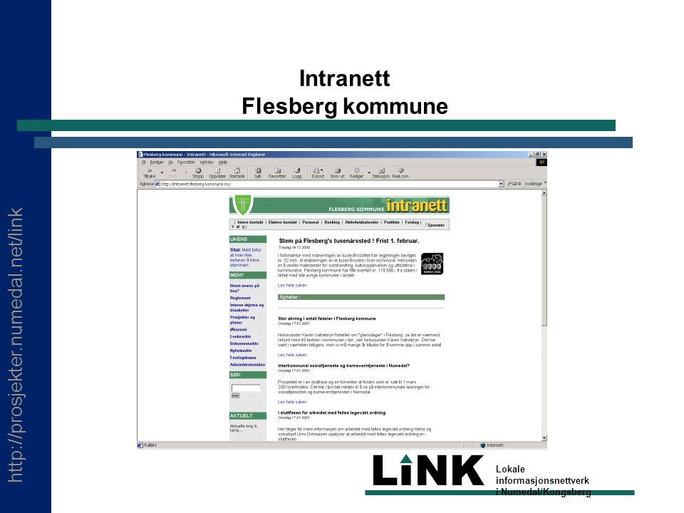 http://prosjekter.numedal.net/link LINK Lokale informasjonsnettverk i Numedal/Kongsberg Intranett Flesberg kommune