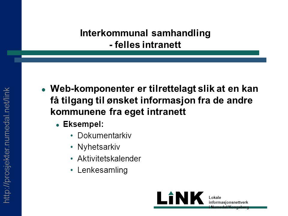 http://prosjekter.numedal.net/link LINK Lokale informasjonsnettverk i Numedal/Kongsberg Interkommunal samhandling - felles intranett Web-komponenter e