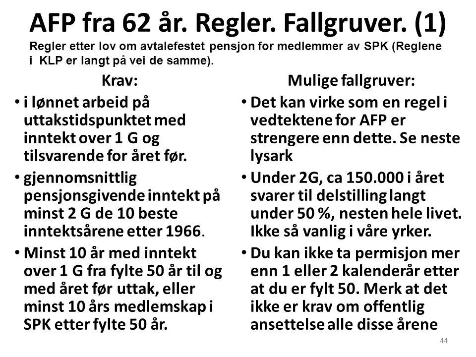 44 AFP fra 62 år. Regler. Fallgruver. (1) Krav: i lønnet arbeid på uttakstidspunktet med inntekt over 1 G og tilsvarende for året før. gjennomsnittlig