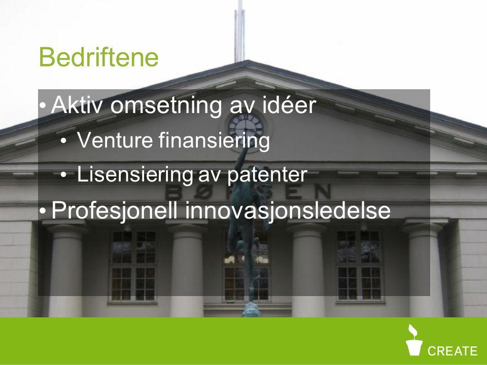 Bedriftene Aktiv omsetning av idéer Venture finansiering Lisensiering av patenter Profesjonell innovasjonsledelse