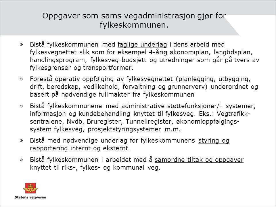 Oppgaver som sams vegadministrasjon gjør for fylkeskommunen.