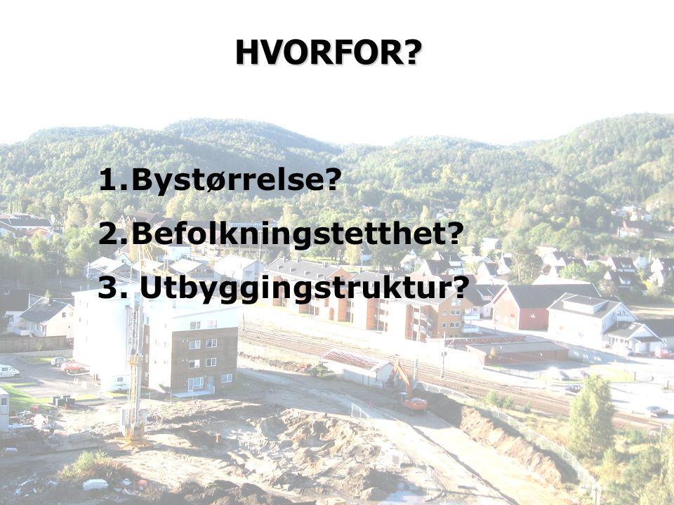 HVORFOR 1.Bystørrelse 2.Befolkningstetthet 3. Utbyggingstruktur