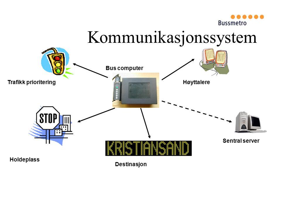 Kommunikasjonssystem Høyttalere Destinasjon Holdeplass Trafikk prioritering Bus computer Sentral server
