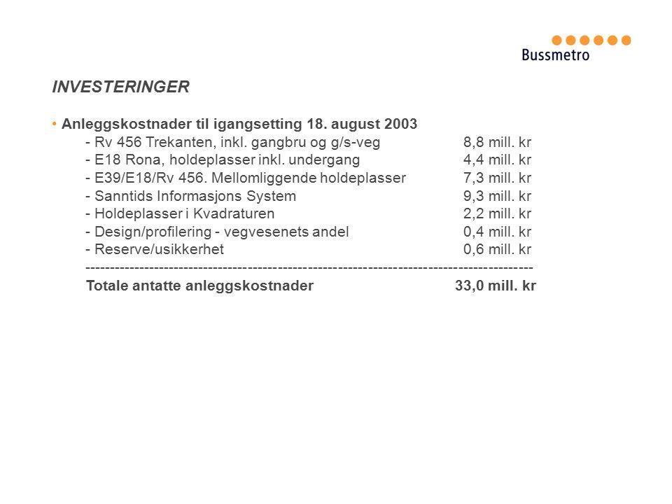 INVESTERINGER Anleggskostnader til igangsetting 18.