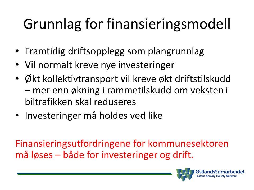 Grunnlag for finansieringsmodell Framtidig driftsopplegg som plangrunnlag Vil normalt kreve nye investeringer Økt kollektivtransport vil kreve økt dri