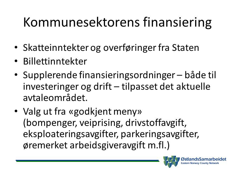 Kommunesektorens finansiering Skatteinntekter og overføringer fra Staten Billettinntekter Supplerende finansieringsordninger – både til investeringer og drift – tilpasset det aktuelle avtaleområdet.