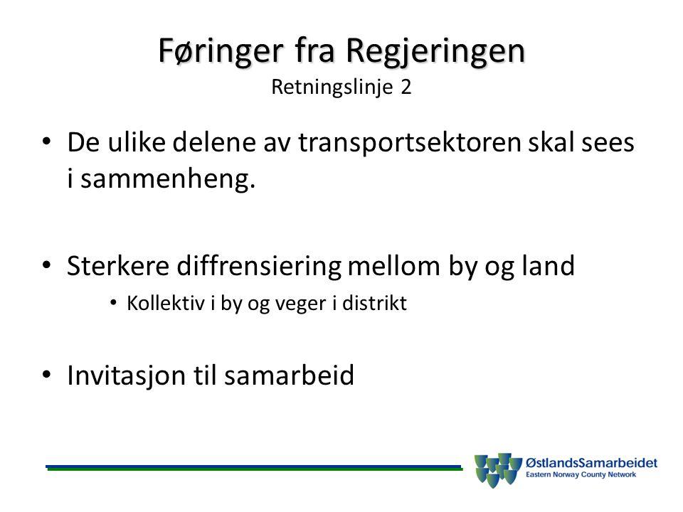 Føringer fra Regjeringen Føringer fra Regjeringen Retningslinje 2 De ulike delene av transportsektoren skal sees i sammenheng. Sterkere diffrensiering