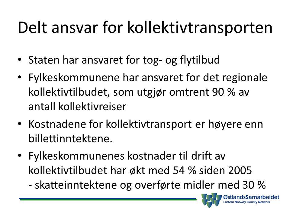 Delt ansvar for kollektivtransporten Staten har ansvaret for tog- og flytilbud Fylkeskommunene har ansvaret for det regionale kollektivtilbudet, som u