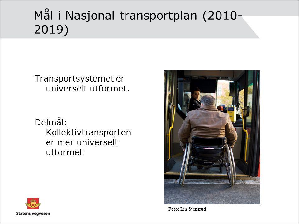Mål i Nasjonal transportplan (2010- 2019) Transportsystemet er universelt utformet.