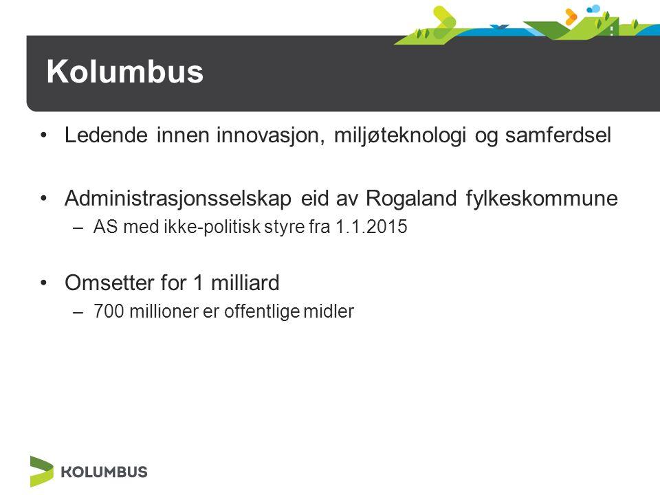 Kolumbus Ledende innen innovasjon, miljøteknologi og samferdsel Administrasjonsselskap eid av Rogaland fylkeskommune –AS med ikke-politisk styre fra 1.1.2015 Omsetter for 1 milliard –700 millioner er offentlige midler