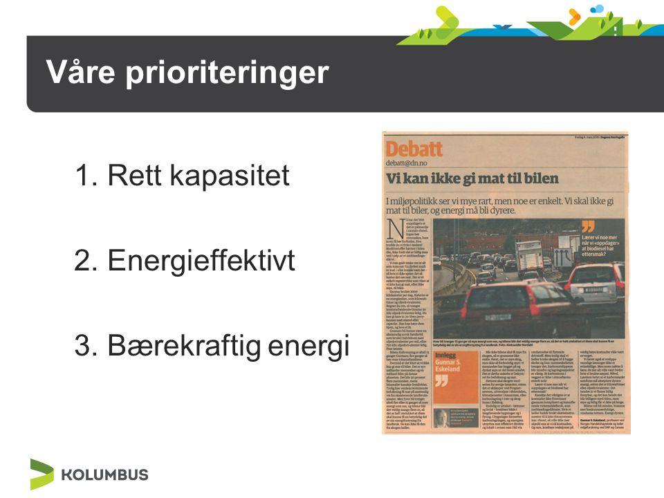 Våre prioriteringer 1.Rett kapasitet 2.Energieffektivt 3.Bærekraftig energi