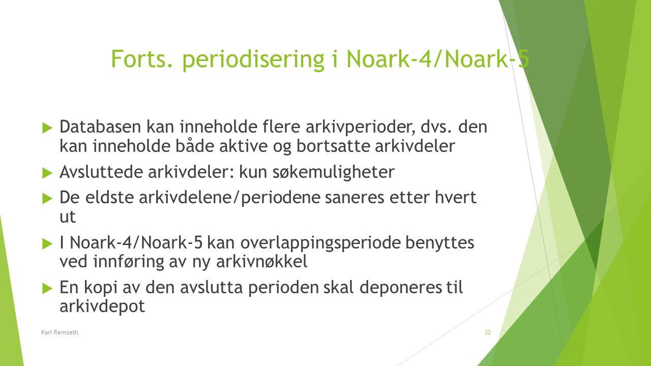 Forts. periodisering i Noark-4/Noark-5  Databasen kan inneholde flere arkivperioder, dvs. den kan inneholde både aktive og bortsatte arkivdeler  Avs