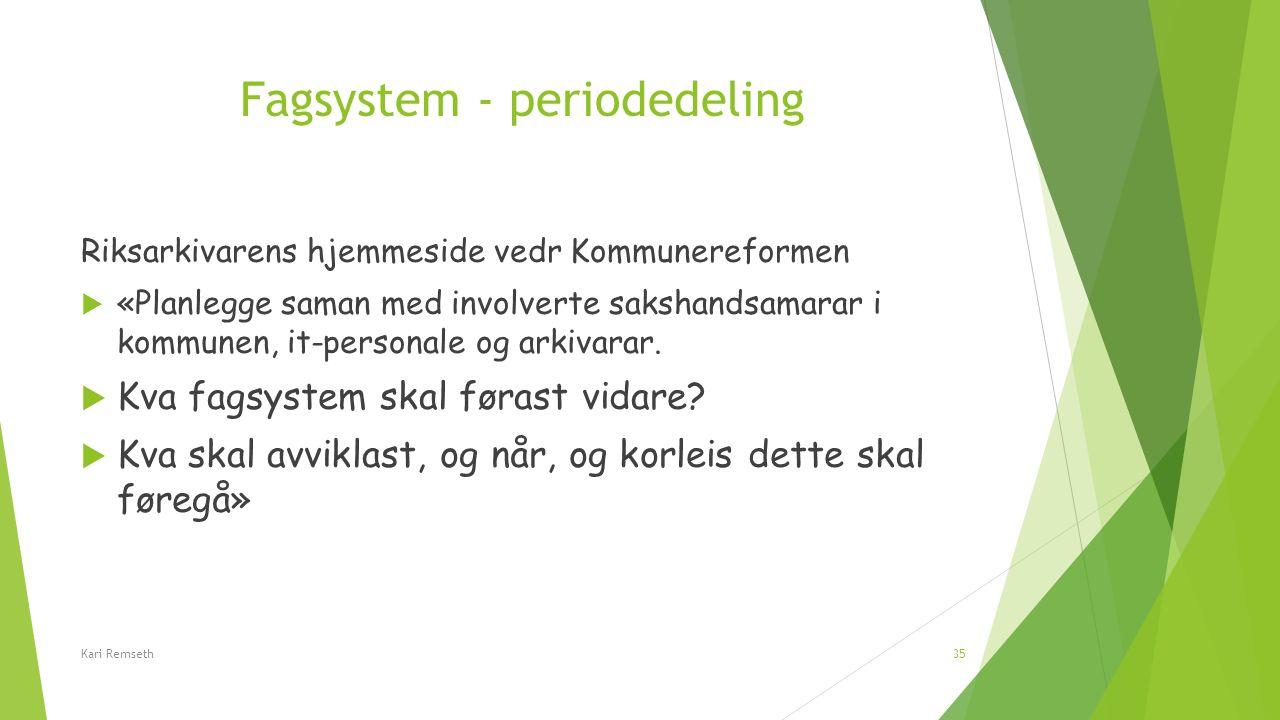 Fagsystem - periodedeling Riksarkivarens hjemmeside vedr Kommunereformen  «Planlegge saman med involverte sakshandsamarar i kommunen, it-personale og