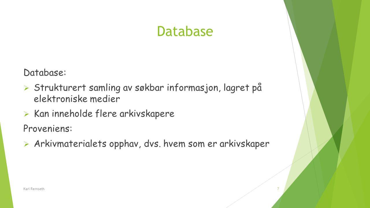 Database Database:  Strukturert samling av søkbar informasjon, lagret på elektroniske medier  Kan inneholde flere arkivskapere Proveniens:  Arkivma