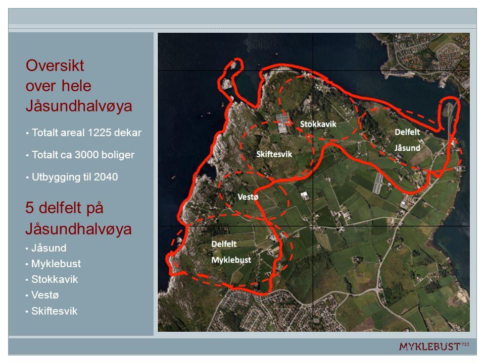 5 delfelt på Jåsundhalvøya Jåsund Myklebust Stokkavik Vestø Skiftesvik Oversikt over hele Jåsundhalvøya Totalt areal 1225 dekar Totalt ca 3000 boliger Utbygging til 2040