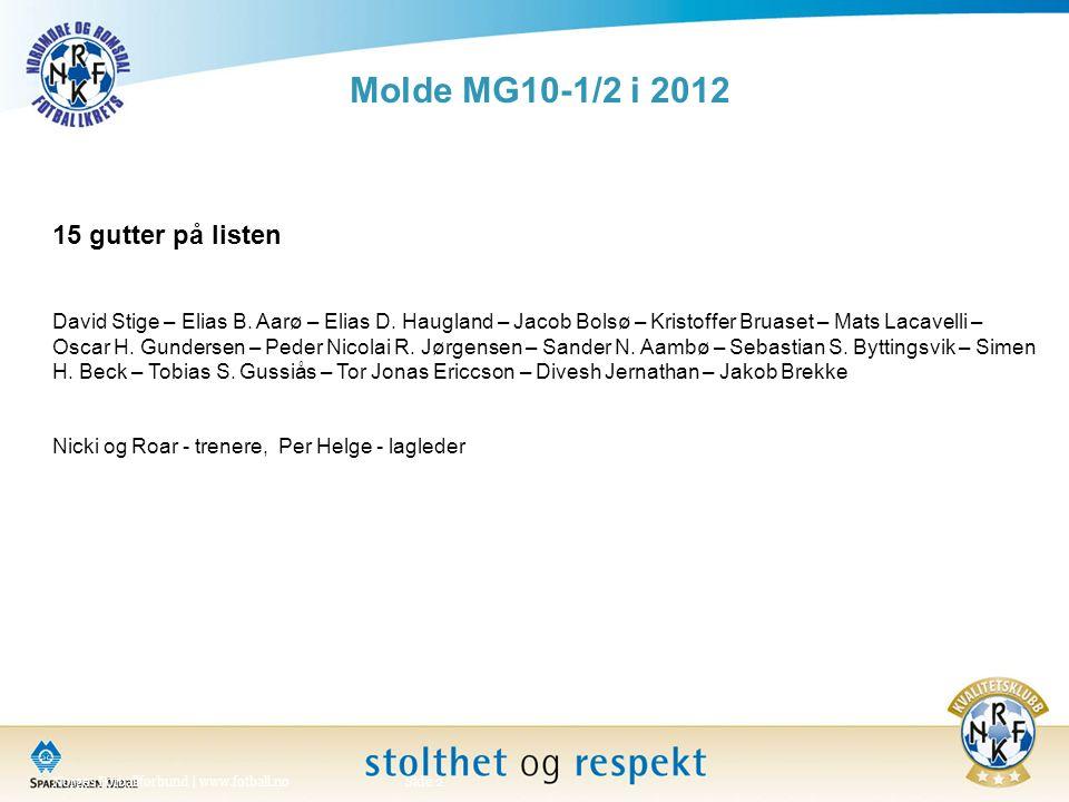 Molde MG10-1/2 i 2012 Norges Fotballforbund | www.fotball.noSide 2 15 gutter på listen David Stige – Elias B.