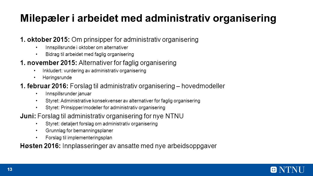 13 Milepæler i arbeidet med administrativ organisering 1.