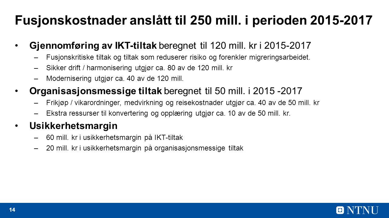 14 Fusjonskostnader anslått til 250 mill.