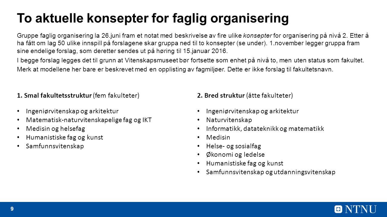 9 To aktuelle konsepter for faglig organisering Gruppe faglig organisering la 26.juni fram et notat med beskrivelse av fire ulike konsepter for organisering på nivå 2.