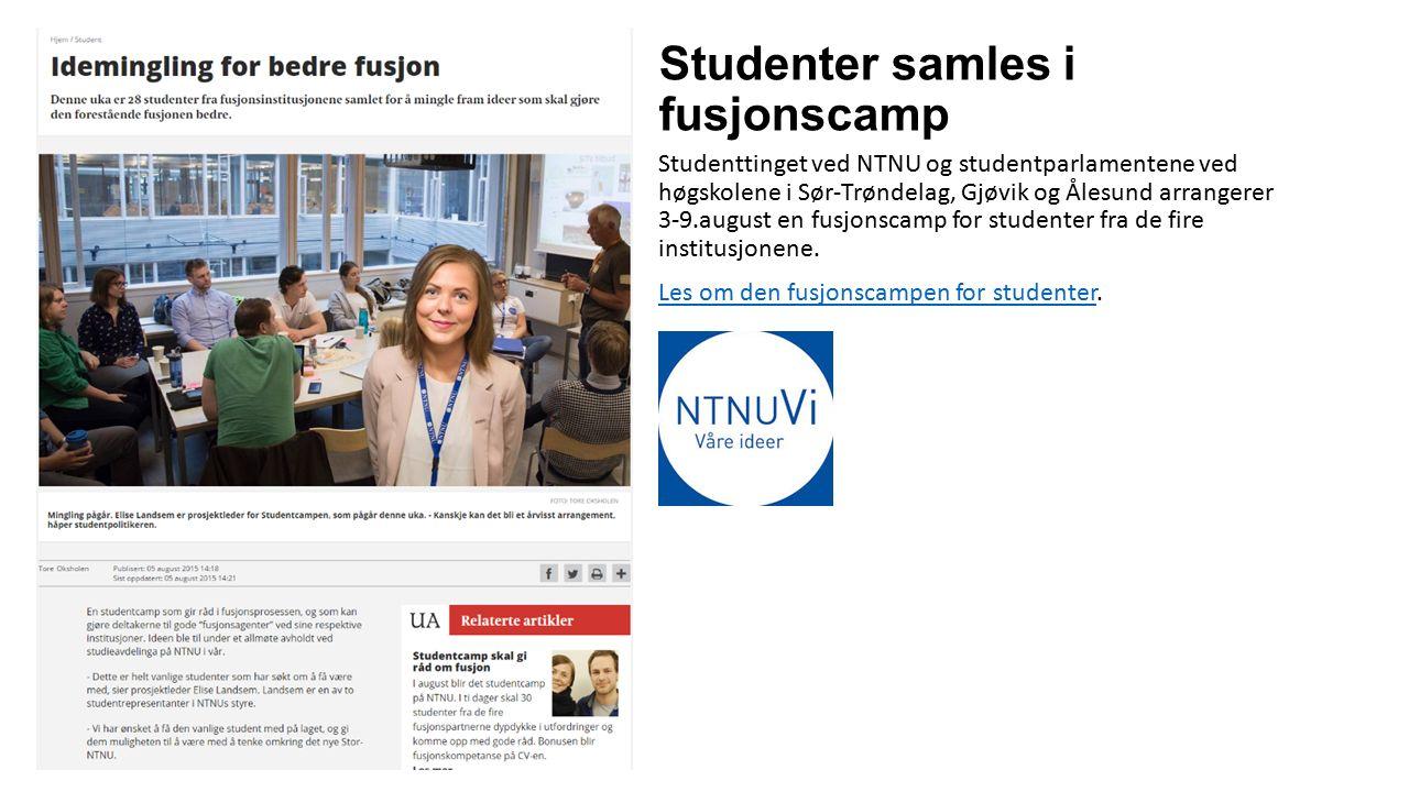 Studenter samles i fusjonscamp Studenttinget ved NTNU og studentparlamentene ved høgskolene i Sør-Trøndelag, Gjøvik og Ålesund arrangerer 3-9.august e